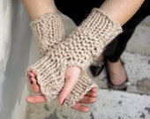Thick Knit Wool Blend Fingerless Mittens in Oatmeal - READY TO SHIP
