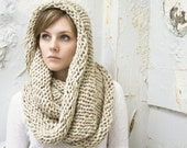 Large Wool Cowl - Infinity Scarf - Circle Scarf in Oatmeal - READY TO SHIP