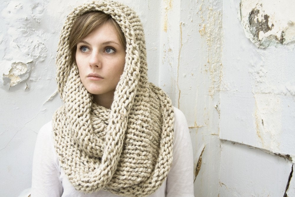 Knitting Pattern Infinity Scarf Hood : Infinity Scarf No. 1 in Oatmeal Wool Blend Circle Scarf