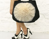 Ivory Ruffle Flower Black Handbag Ready to Ship