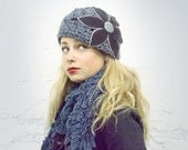 Denim Blue Navy Felt Flower Cloche Hat - READY TO SHIP