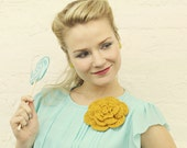 Mustard Yellow Crocheted Flower Pin - MADE TO ORDER