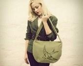 Sage Green Grass Tweed Reversible Bird Hip Bag READY TO SHIP
