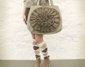 Sage Green Tweed Taupe Ruffle Flower Handbag READY TO SHIP