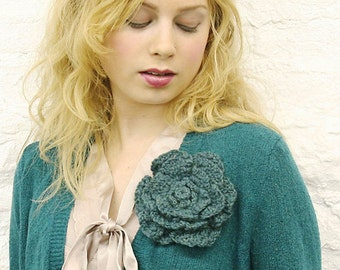 Teal Crocheted Flower Pin - READY TO SHIP