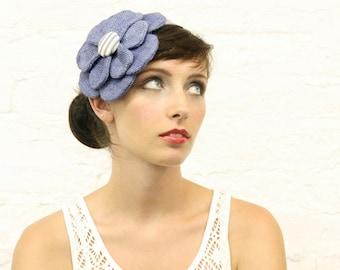 Hand Dyed Blue Retro Flower Headpiece