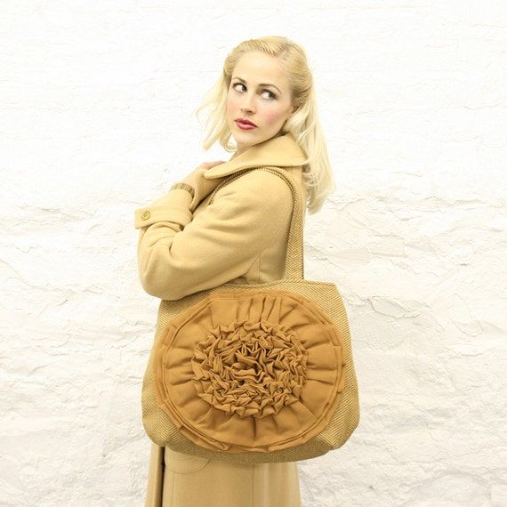 Camel Tweed Chiffon Ruffle Flower Handbag READY TO SHIP