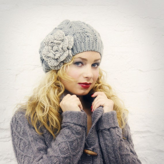 Gray Tweed Flower Slouchy Hat - READY TO SHIP