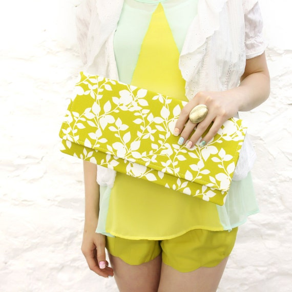 Chartreuse Flower Clutch READY TO SHIP