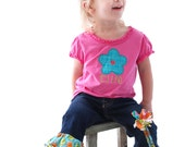 Girls Applique Flower Tee with Name Monogram