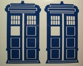 Small 2x flying Police Box decal stickers Macbook Sci-fi