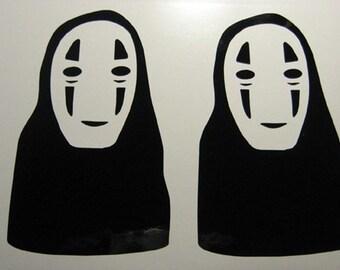 Spirited Away No Face 2x Decal Sticker Anime Totoro Macbook
