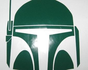 Boba Fett Helmet Star Wars sci fi vinyl rub-on decal sticker Macbook