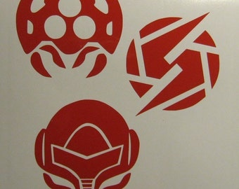Nintendo Metroid Decal 3 pack Screw Attack and Samus Helmet
