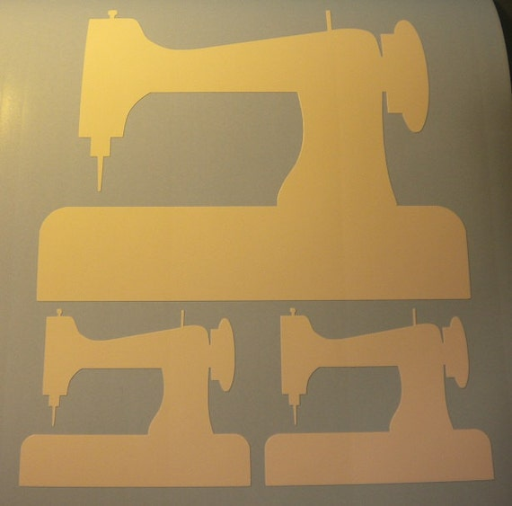 3 sewing machine rub on vinyl decal stickers