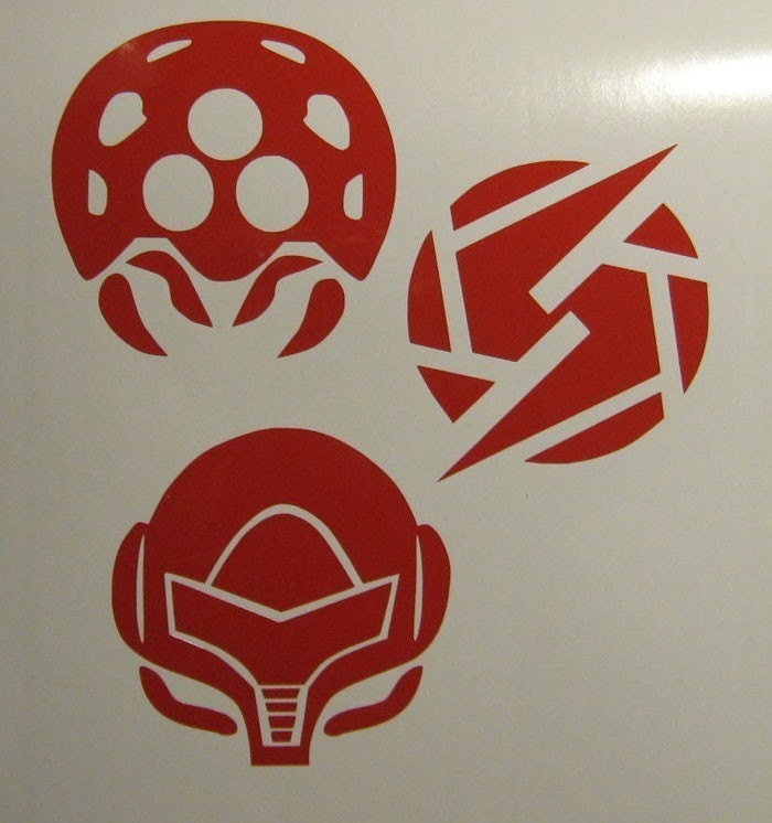 Nintendo Metroid Decal 3 pack Screw Attack and Samus Helmet