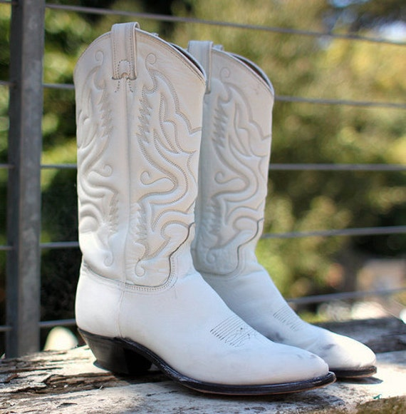 White Leather Cowboy Cowgirl Boots Size 5 5 Womens Country