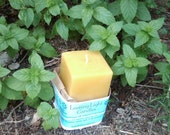 Square Lavender Beeswax Pillar