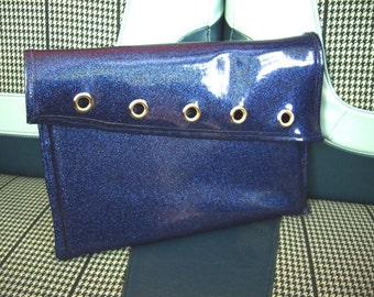 SALE! Blue Glitter Vinyl Laptop Sleeve with Grommet Detailing (10 x 13 3/4 i-book size)