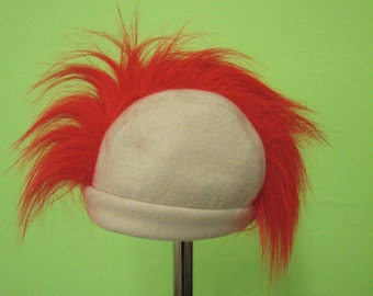 Baby Beanie with a Mohawk - Light Gray Fleece with Long Red Mohawk  - Baby Hat 0-6, 6-12,12-18months, or Toddler  sizes