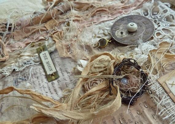 the moon textile art quilt