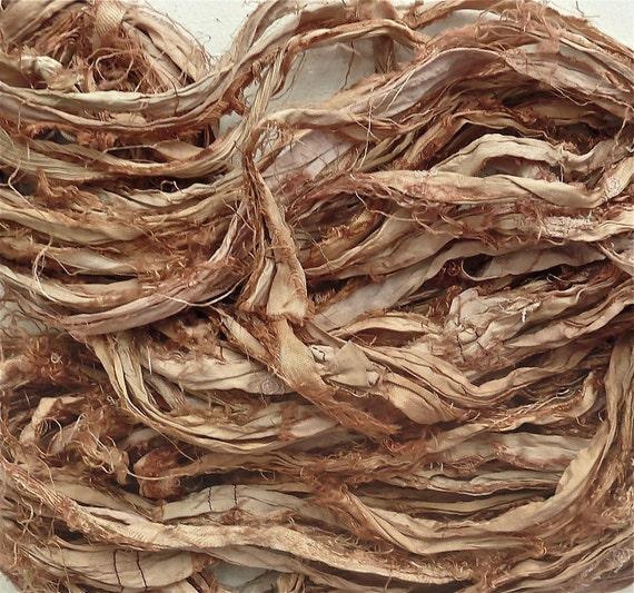 sepia recycled silk sari ribbon