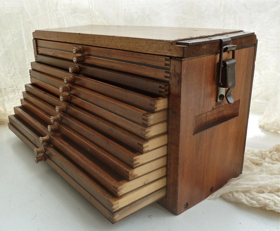 Antique Wooden Tray Chest Cigar Drying Box