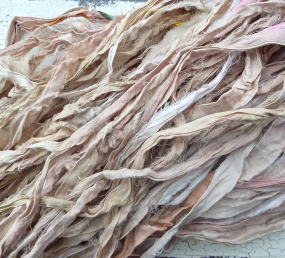 vintage tea shades recycled silk sari ribbon