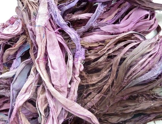 mocha raspberry recycled silk sari ribbon