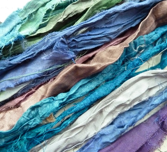 recycled silk sari ribbon mini pack 3