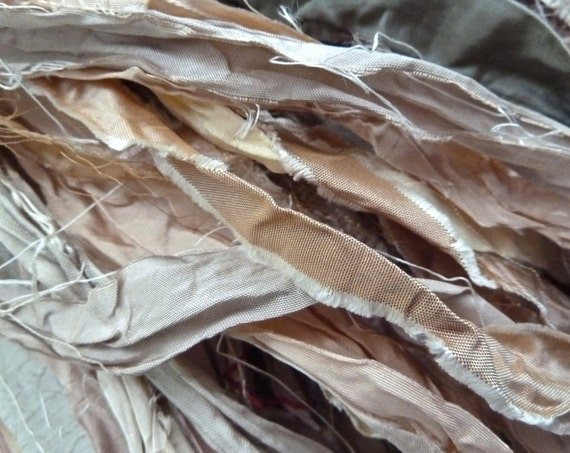 mist recycled silk sari ribbon
