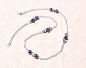 Fine Link Chain Necklace with Purple Freshwater Pearls and Leadfree Pewter Flowers   --  Holt - Dusk   --