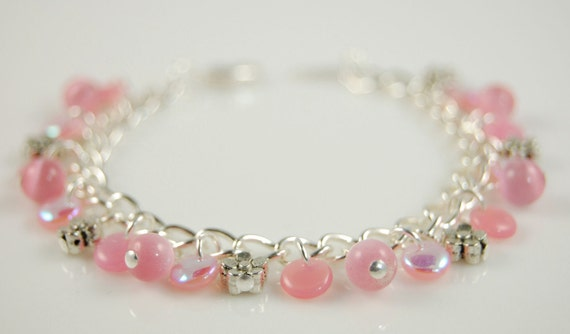 Girls Pink Charm Bracelet Cotton Candy