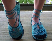 Lace up crochet SHOES - Mary Jane - Turquoise - CUSTOM MADE - Hippie sandals
