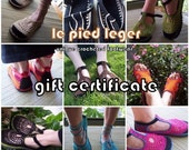 GIFT CERTIFICATE - Valid for any pair of SHOES at Le pied léger - including shipping  - Crochet shoes Sandals Boho Hippie Summer MaryJanes