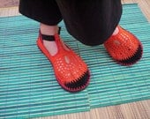 Mary Jane crochet SHOES - Tangerine - Orange, Red and Burgundy - CUSTOM MADE