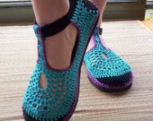 Mary Jane crochet SHOES - Turquoise and Purple - CUSTOM MADE -
