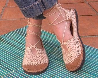 Lace up crochet VEGAN SHOES - beige w/ tan color suede - beach WEDDING footwear - custom made -
