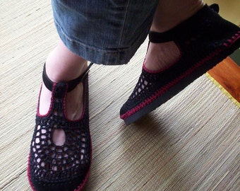 Mary Jane crochet SHOES - Black  and Wine Red - CUSTOM MADE -
