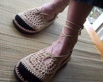 Lace up crochet SHOES - Mary Jane - Tan & Beige - CUSTOM made - Hippie boho sandals