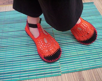 Mary Jane crochet SHOES - Tangerine - Orange, Red and Burgundy - CUSTOM MADE