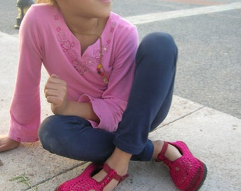 KIDS Mary Jane crochet SHOES - size 12K to 3K - Choose your colors