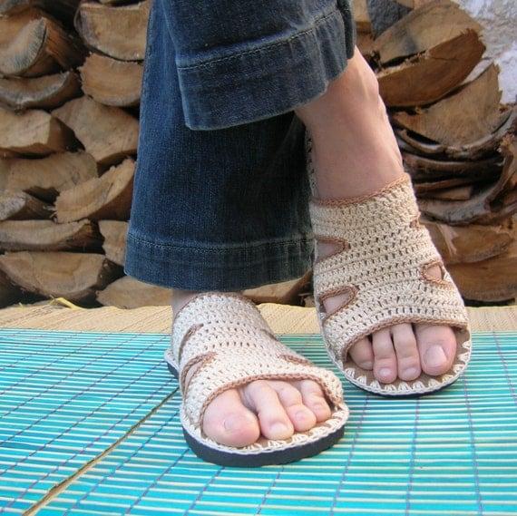 Tan Beige Crochet SANDALS - boho hippie summer shoes - CUSTOM MADE