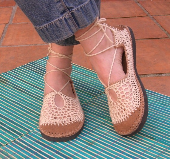 Lace up crochet SHOES - beige w/ tan color suede - beach WEDDING footwear - CUSTOM made -