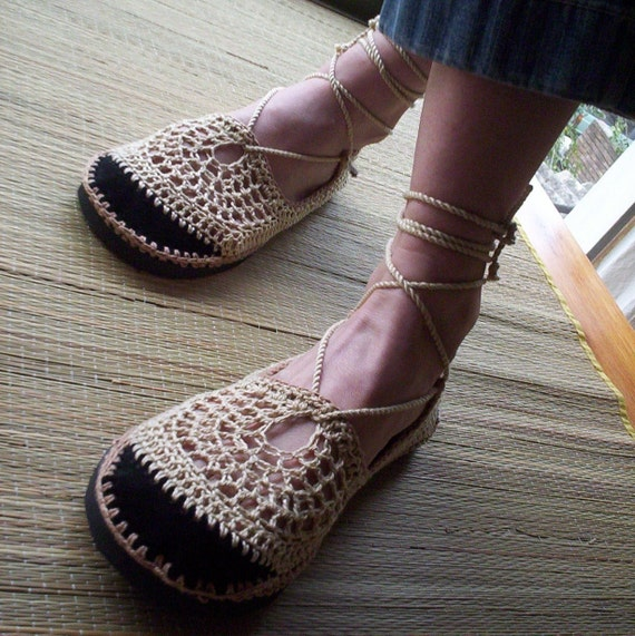 Lace up crochet SHOES - Mary Jane - Tan & Beige - CUSTOM made - Hippie boho sandals