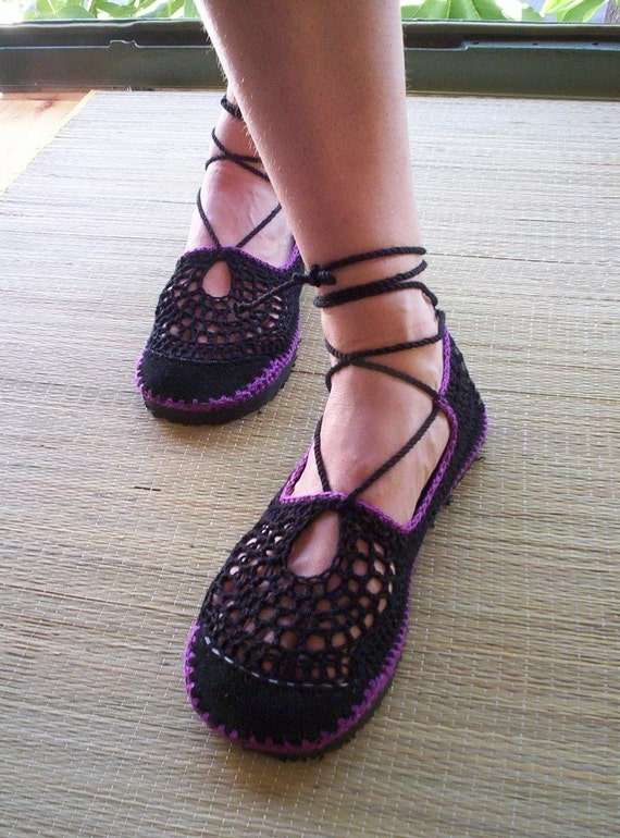 Lace up crochet SHOES - Mary Jane - Black  & Purple - CUSTOM MADE - Hippie chic sandals