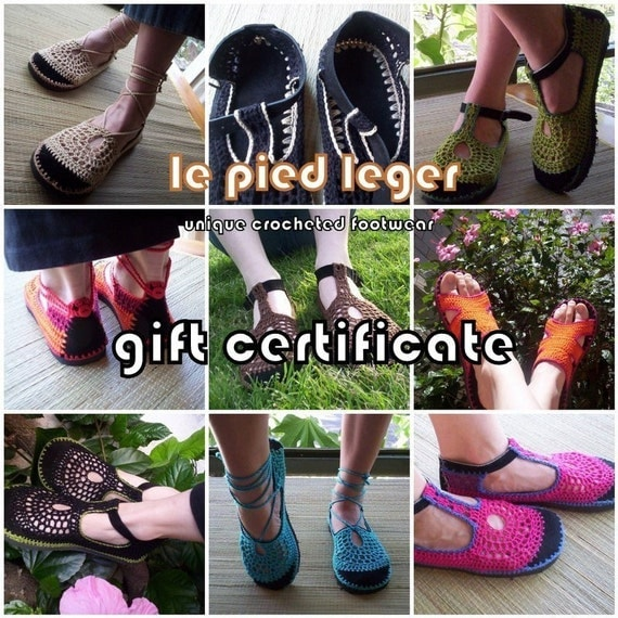 GIFT CERTIFICATE - Valid for any pair of shoes at Le pied léger - last minute gift - hippie boho vegan shoes - crochet sandals