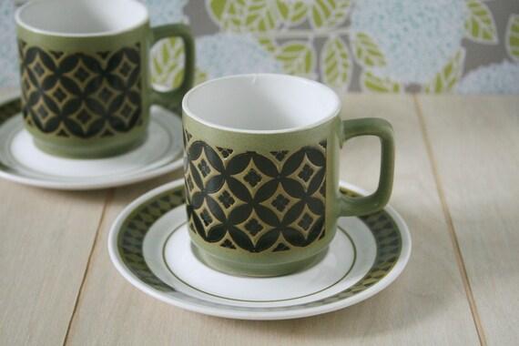 Vintage Green Coffee Cup with Saucer, Mug, Black, Mikasa