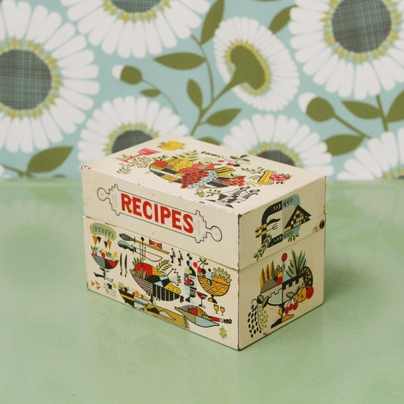 Vintage Metal Recipe Box, White, Kitchen