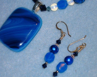 Cerulean Sky, Fused Glass Pendant / Bead Necklace/Earring Set